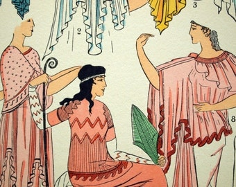 1925 French Art Deco Hand Coloured Pochoir Print on Greco-Roman Women's Fashions. Plate 6