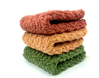 Autumn Sunset Crochet Dishcloths, Crochet Cotton Washcloths, Paprika, Butterscotch and Sage Face Cloths