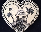 House on a heart tile in black and white