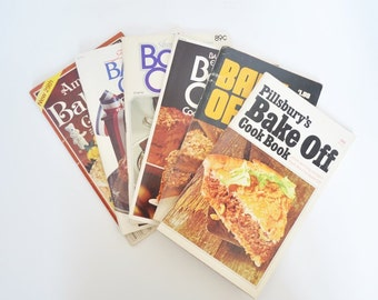 6 Pillsbury Bake Off Cookbooks Nos. 21, 22, 24, 25, 27, 29 - 1970, 1971, 1973, 1974, 1976,1980