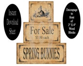 "Bunny Wood Decoupage Sheet Printable Instant Download for Blocks DIY Primitive Prim Modge Podge Shelf Sitters Chunky Stackable 2"" X 4"""