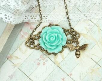 Blue Rose Necklace Bee Jewelry Blue Rose Pendant Summer Wedding Romantic Jewelry Blue Flower Jewelry