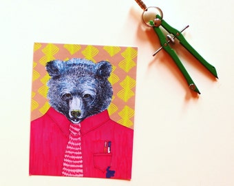 blue bear ink splash postcard set of two in pink and chartreuse for your penpal who needs a pocket protector