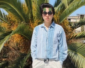 White Blue Stripe Flannel Shirt Cotton Vintage 80s Mens M
