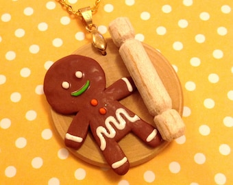 Jeremy The Jolly Gingerbread Man Necklace
