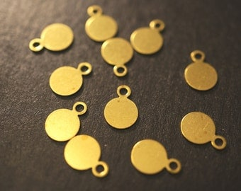 BULK SALE - No Coupons - Small Raw Brass Simple and Plain Round Name Tags -6mm (thicker) - 150 pcs