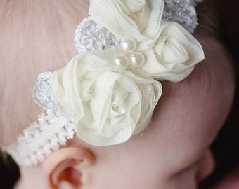 Baby and toddler headband ...Newborn headbands....Chiffon and pearls