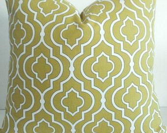 Both sides--P Kaufmann - Decorative Pillow Cover-Designer Fabric - Golden Yellow-/ Ivory Geometric Throw and Lumbar Pillows.