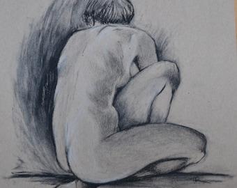 Kneeling Figure - original charcoal figure drawing