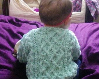 Garbhan baby/toddler aran cable sweater PDF knitting pattern