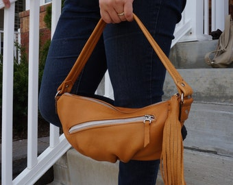 Clearance Sale - Tan leather purse with tassel. pleated bottom bag, Beige tan leather purse