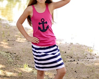 Pink anchor tank with boutique stripe twirl skirt sizes 5 to 12