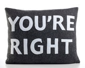 "YOU'RE RIGHT 14""x18"" recycled felt applique pillow - more colors available"