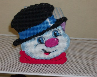 Happy Snowman Tissue Box Cover, Christmas Snowman Tissue Box Cover, Needlepoint Snowman Tissue Box