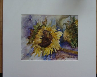 "Sunflower, Flower, Floral, Garden, Botanical,  Summer, Daylight, Original Watercolor Painting 8""x 10"" by Janet Dosenberry"