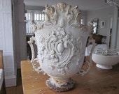 Antique French cast iron urn. Garden decor