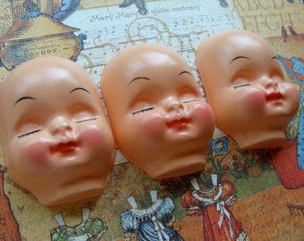 Vintage Kitsch 1950s Vintage Doll Faces for Altered Art and Sewing Assemblage Sugar Plums danced in their Heads