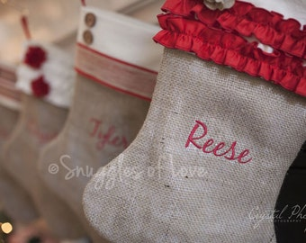Set of 3 Personalized Burlap Christmas Stockings - PERSONALIZED, Shabby Chic Christmas Stockings, Buttons, Stripes, Ruffles & Flowers