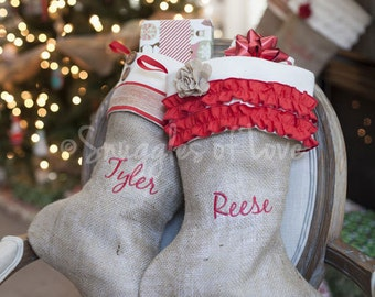 Personalized Burlap Christmas Stocking, Shabby Chic Stocking, 6 Styles to Choose From, Girls, Boys, Men & Women Styles Burlap Stocking