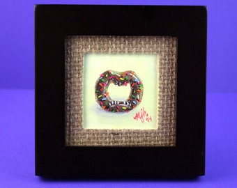 ORIGINAL PAINTING- Chocolate Donut w/ Sprinkles Monster Concept - Framed 2 x 2 inch Gouache Mini Painting