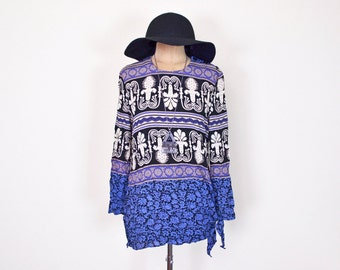 Black & Blue Paisley Print Tunic Top Shirt Blouse Slouchy Top Oversize Top Side Tie Waist Top 90s 70s Hippie Top Boho Top Gypsy Top S Small