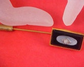 Free Ship ~Electrifying Pristine ONYX - DIAMANTE - Mother  - of- PEARL Gold Plate Rectangular 1940's Stick Pin