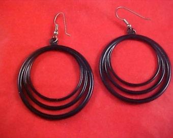 REDUCED~Black Lucite Triple Hoop Shepard Wire Earrings
