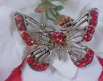 RUBY Red Rhinestone Antiqued silver Plate BUTTERFLY Brooch