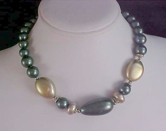 Simulated Gray & Gold Pearl Choker/Necklace