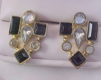 Free Shipping~Black Rhinestones & Diamante Post Earrings