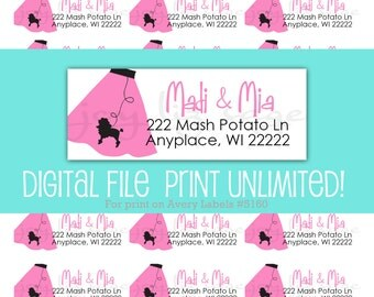 Nifty Fifties Poodle Skirt Return Address Labels - Personalized for YOU - Digital File