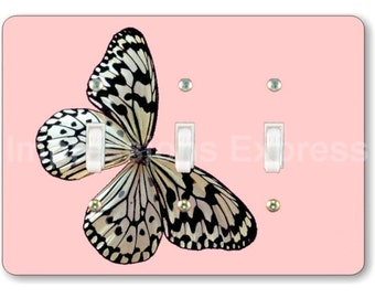 White Nymph Butterfly Pink Triple Toggle Light Switch Plate Cover