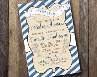 Baby Shower Invitation- 4x6-Elegant- Blue, White, Tan