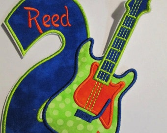 Rock Star Guitar Birthday - Iron On or Sew On Applique