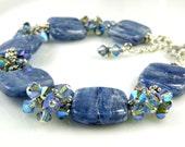 Natural Blue Stone Bracelet, Kyanite Gemstone, Sterling Silver, Swarovski Crystals, Light Blue Denim, Artisan Women Jewelry Gift