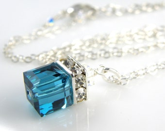 Teal Crystal Necklace, Blue Swarovski Crystal Cube Pendant, London Blue Topaz, Bridesmaid Wedding Bridal Jewelry, December Birthday Gift