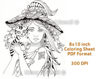 Witch Cat Coloring Pages Coloring Pages
