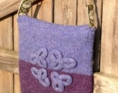 Parisian Purple Celtic Knot Felted Wool Messenger Bag , OOAK Cross Body Art Purse or Laptop Tote in Plum and Lilac Handmade in USA