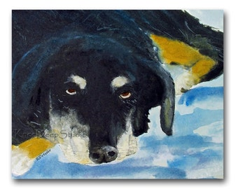 Sleepy Dog Watercolor Painting 8x10 Fine Art Print Contemporary Wall Decor original canine art pet portrait black dog art gift for dog lover