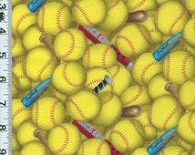 Fabric Elizabeth's Studio yellow SOFTBALLS bats packed Girls Womens Sports print es426