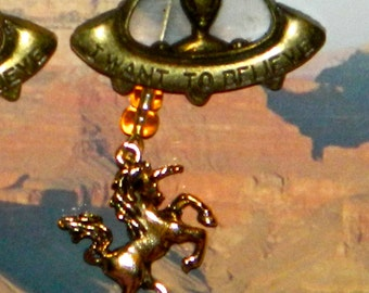 Alien Abduction Whatever Necklace, UFO Extraterrestrial Flying Saucer Brass Tone