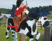 horse and boy rider sitting on a saddle mailbox with reins and whip custom or girl rider