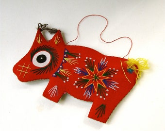 Colorful vintage Handmade Embroidered Dog Ornament