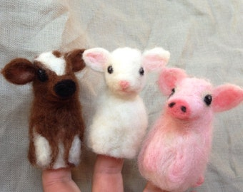 Needle felted finger puppet, Farm Animals, Lamb, Cow, Pig