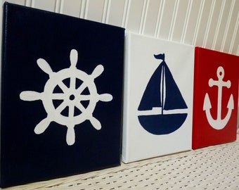Nautical Nursery Paintings - Nursery Art - Helm Anchor Sailboat Canvas Paintings - Hand Painted Nursery Wall Decor - Nautical Nursery Art