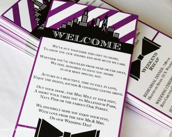 Wedding Welcome Bag Itinerary Cards // Weekend Schedule / Sets of 25