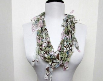 GladRagz Circle of Chains Necklace Scarf in Pale Green, Pink, Brown Chiffon Ready to Ship Infinity Knotted Shredded Circle Crochet Scarf