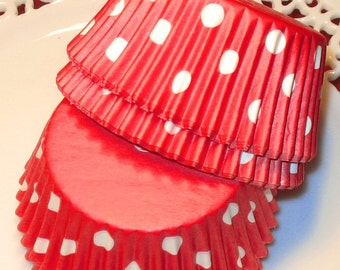 Red Polka Dot Staybright Cupcake LIners  (Qty 45)