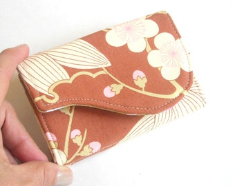 Vintage Amy Butler Print Business Card Case in Rust Brown Pink Cream Fabric  - Cherry Blossom