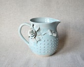 Milk pitcher - MADE TO ORDER - light blue with pink roses and pink dots - Stoneware